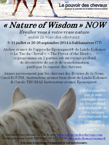 now,nature of wisdom,2014,eponaquest,linda kohanov,france,carole thomas,cheval,developpement personnel assisté par le cheval,equicoaching,le tao du cheval,equi coaching,equitation ethologique,carol roush
